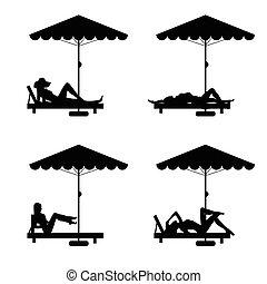 Silla de cubierta y paraguas con mujer en él ilustración