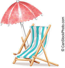 Silla de cubierta y paraguas