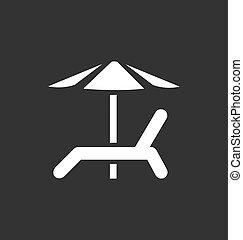 Silla de playa con vector de icono paraguas