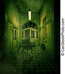 Silla de ruedas en casa embrujada o asilo