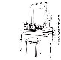 Silla dibujada a mano, mesa y espejo.