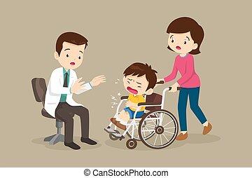 silla, teniendo, niño, rueda, sentado, dolor de estómago, doctor, ver, mamá