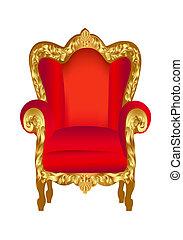 silla, viejo, rojo, oro