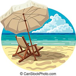 Silla y paraguas en la playa