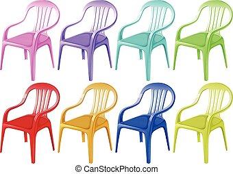 Sillas de plástico coloridas
