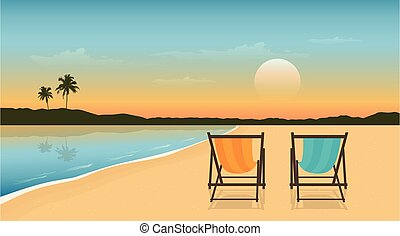 sillas, diseño, playa, día de fiesta de verano, dos, cubierta, paraíso