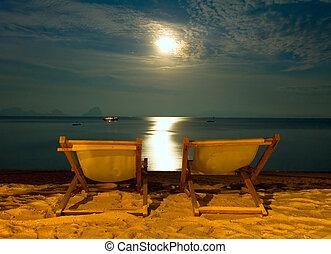 sillas, -, escena, tropical, recurso, playa noche