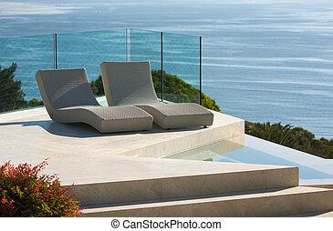 sillas, lujo, piscina, costumbre