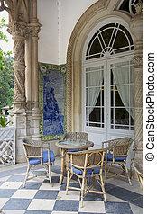 sillas, tabla, balcón
