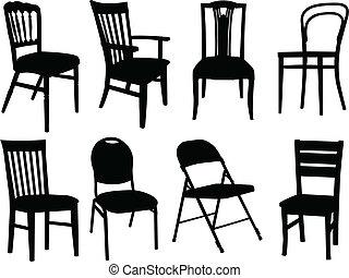 sillas, vector, -, colección