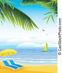 Sillones con paraguas de playa