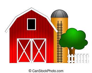 silo, grano, rojo, ilustración, granero