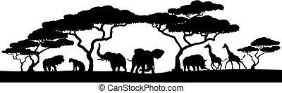 Silueta africana escena del paisaje animal
