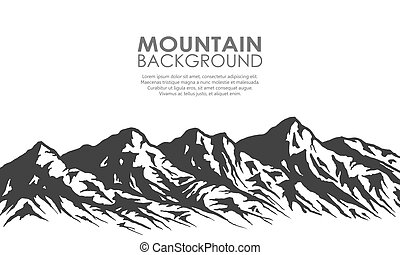 silueta, aislado, gama, white., montaña