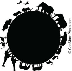 Silueta animal y mundo