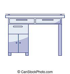 Silueta azul de escritorio de madera