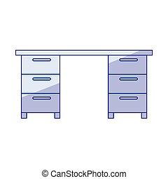 Silueta azul de escritorio de oficina de madera
