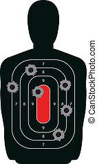 silueta, blanco, agujeros de bala, arma de fuego, gama, disparando