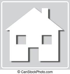 silueta, blanco, icono, gris, casa