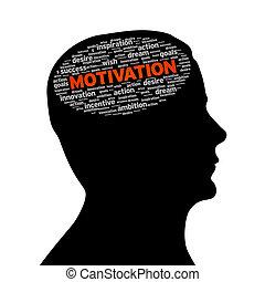 silueta, cabeza, -, motivación
