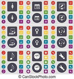 Silueta, calendario, monitor, PC, símbolo venus, auriculares, nota, reloj, símbolo de icono de cohetes. Un gran conjunto de botones planos y de colores para su diseño. Vector