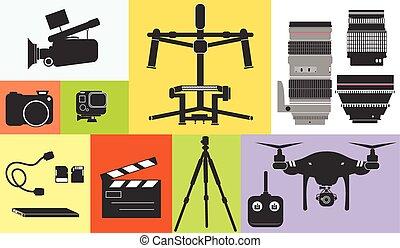 silueta, cine, foto, cantidad, ilustración, zángano, equipo, vector, profesional, tecnología, icono