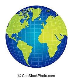 Silueta colorida con la vista del mapa del mundo