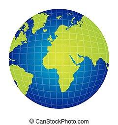 Silueta colorida con visión del mapa del mundo desde el lado correcto