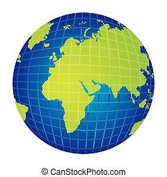 Silueta colorida con visión del mapa del mundo desde el lado izquierdo