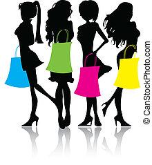 silueta, compras, niñas