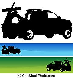 silueta, conjunto, bandera, camión, remolque