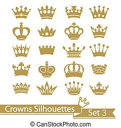 silueta, corona, vector, -, colección