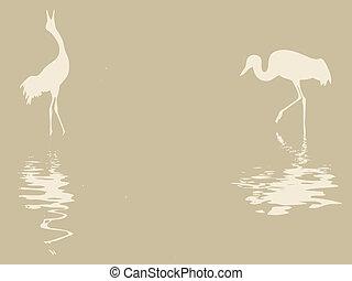 Silueta Crane sobre papel viejo, ilustración vectora