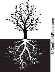 Silueta de árbol con raíces