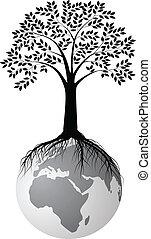 Silueta de árbol en la tierra