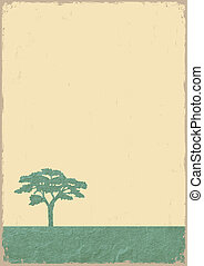 Silueta de árbol en papel viejo grunge