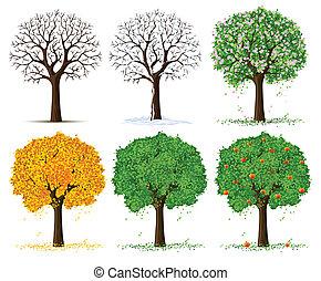 Silueta de árbol estacional