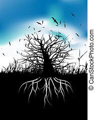 Silueta de árboles con raíces