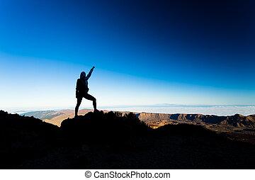 Silueta de éxito en la cima de la montaña