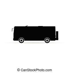 Silueta de autobús en ilustración de vectores negros