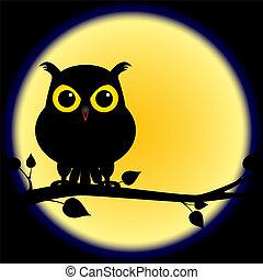 Silueta de búho en rama con luna llena