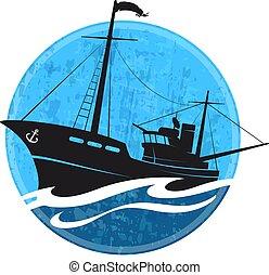 Silueta de barco de pesca en la ola