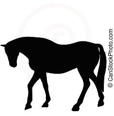 Silueta de caballo en la cabeza hacia abajo