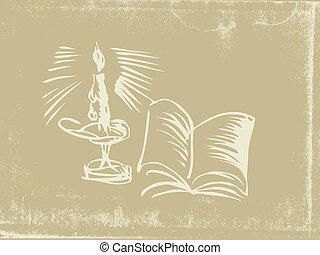 Silueta de candelabro en papel viejo, ilustración vectora
