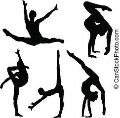 Silueta de chica de gimnasia