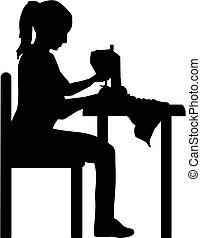 Silueta de chica y máquina de coser