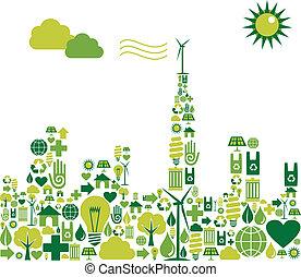 Silueta de Ciudad Verde con iconos ambientales