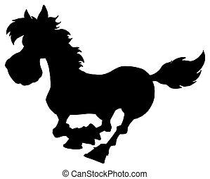 Silueta de correr a caballo