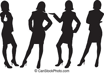 Silueta de damas de negocios