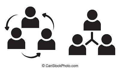 Silueta de discusión grupal